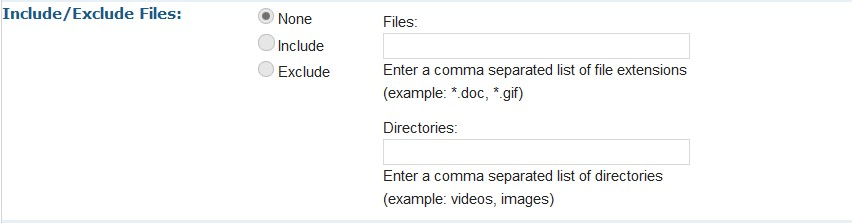 exclude files dirs