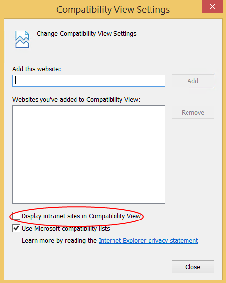 Disable Compatability View