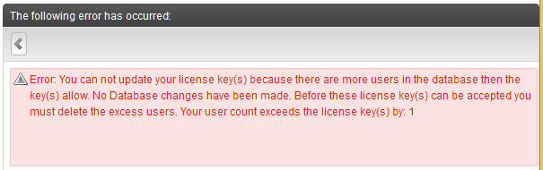 Error Updating License Key
