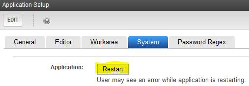 restart application