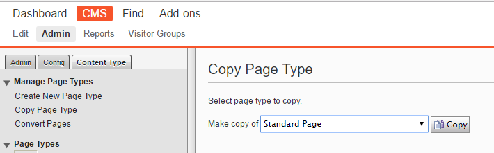 Screen capture of user interface needed to copy a page type